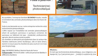 Recrutement technicien photovoltaïque